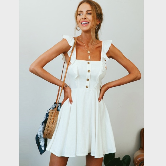 Fit And Flared White Button Detailed Mini Dress